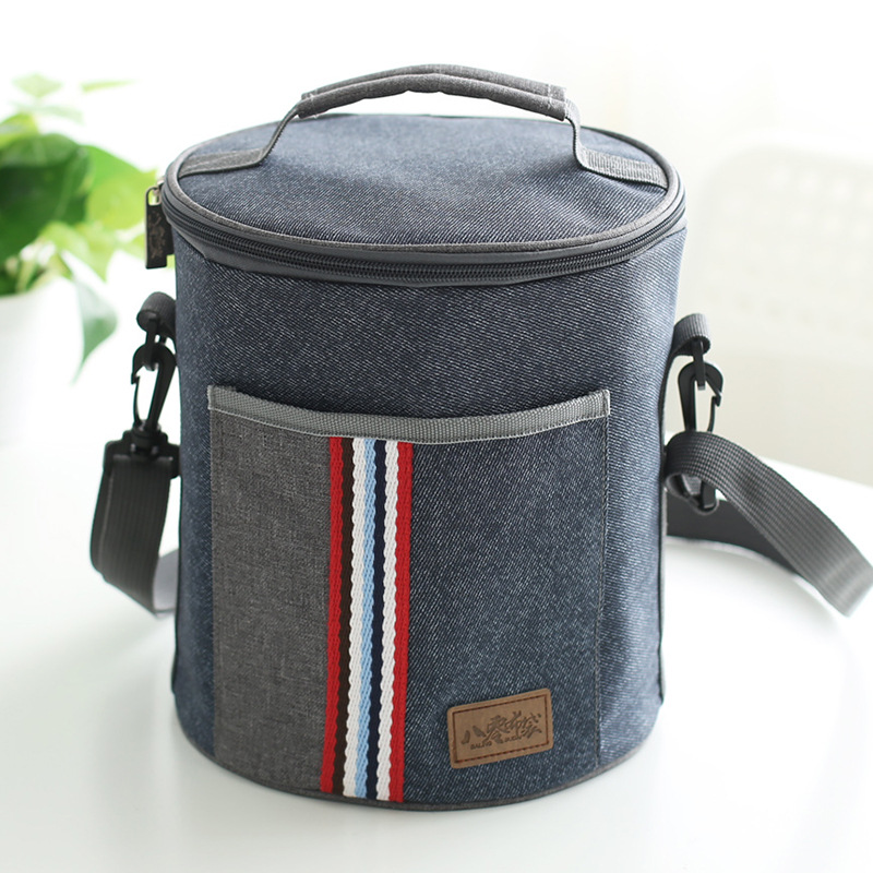 VILEAD Multi-select Portable Lunch Bag Snacks Fresh Ice Pack Cylinder Oxford Cloth Picnic Bag Round Insulated Cooler Bag