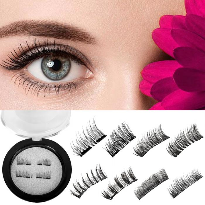 Hot 4 PCS Double Magnetic Eyelashes No Glue Reusable 3D Handmade False Eyelashes Ultra Thin Lightweight HB88