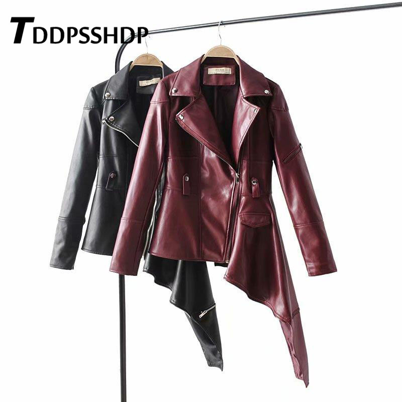 2019 Casual PU   Leather   Jacket Black and Burgundy Irregular Lapel High End Ladies Basic Coats Outerwear