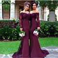 Honey Qiao Bridesmaid Dresses 2017 Burgundy Satin Off the Shoulder With Sheer Long Sleeve Applique Sequin Sweep Train Prom Gowns