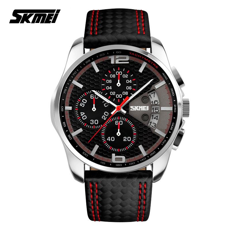 Prix pour SKMEI 9106 Hommes Chronographe Montre Hommes Quartz Montre Sport Montre En Cuir Imperméable À L'eau Horloge Date Hommes de Montre-Bracelet relogio masculino