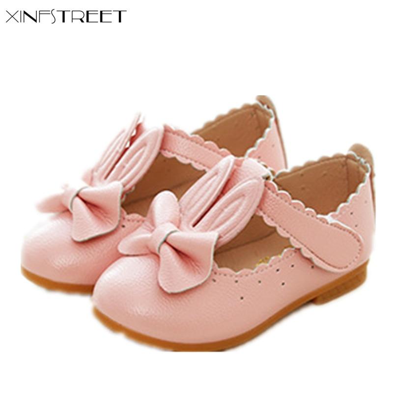 Xinfstreet Meninas Calçam Sapatos de Princesa Bowtie Couro Macio Bonito Pouco Sapatas Dos Miúdos Para Meninas de Dança Sapatos Flats Tamanho 21-30