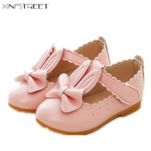 Xinfstreet Girls Shoes Princess Bowtie Soft Leather Cute Little Kids For Dance Flats Size 21-30