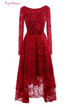 Real Photo Red Lace Scoop Long Evening Dresses 2017 with Sashes Custom made Ankle Length Sleeve Prom Gown Vestido de festa
