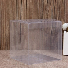 10 Pcs Wedding Transparent Cube Favour Boxes Sweet Candy Cake Gift Bags 2 Sizes Y1QB