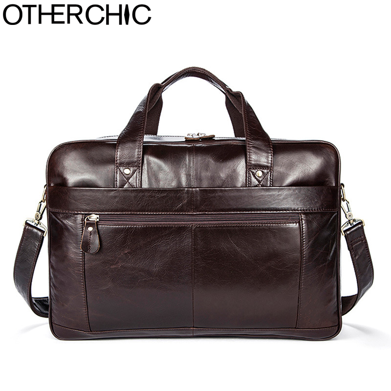 OTHERCHIC Roomy Portfolios Luxury Briefcase Genuine Leather 14 Laptop Business Bag Men Messenger Bags Lawyer Handbags 7N06-10 new genuine leather coffee men briefcase 14 inch laptop business bag cowhide men s messenger bags luxury lawyer handbags lb9006