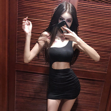 Slim party Dress Black mini Sexy Hollow Out Package Hip Dress Western Style  Sleeveless Formal Dress a27599823c5a