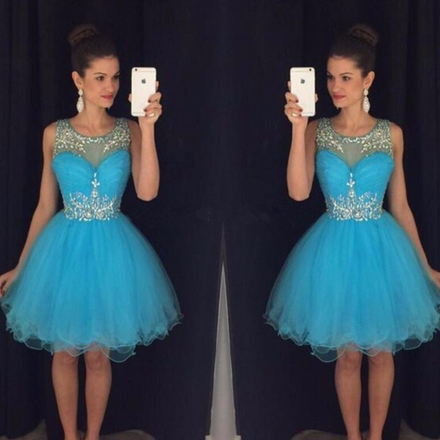 Us 1150 Elegant Blue Homecoming Dresses Ajax 2017 Tulle Sheer Crystal Short Prom Dress Sexy Women Party 8 Grade Graduation Gowns Cheap In