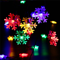 Christmas Decorations For Home Solar String Light 20 LED Snowflake Flowers Solar Lights Outdoor Lighting String Fairy Garden