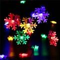 Solar Luz de la Secuencia de 20 LED del Copo de nieve de navidad Decoraciones Para El Hogar Flores Solares Luces de Hadas de la Secuencia de Jardín Iluminación Al Aire Libre