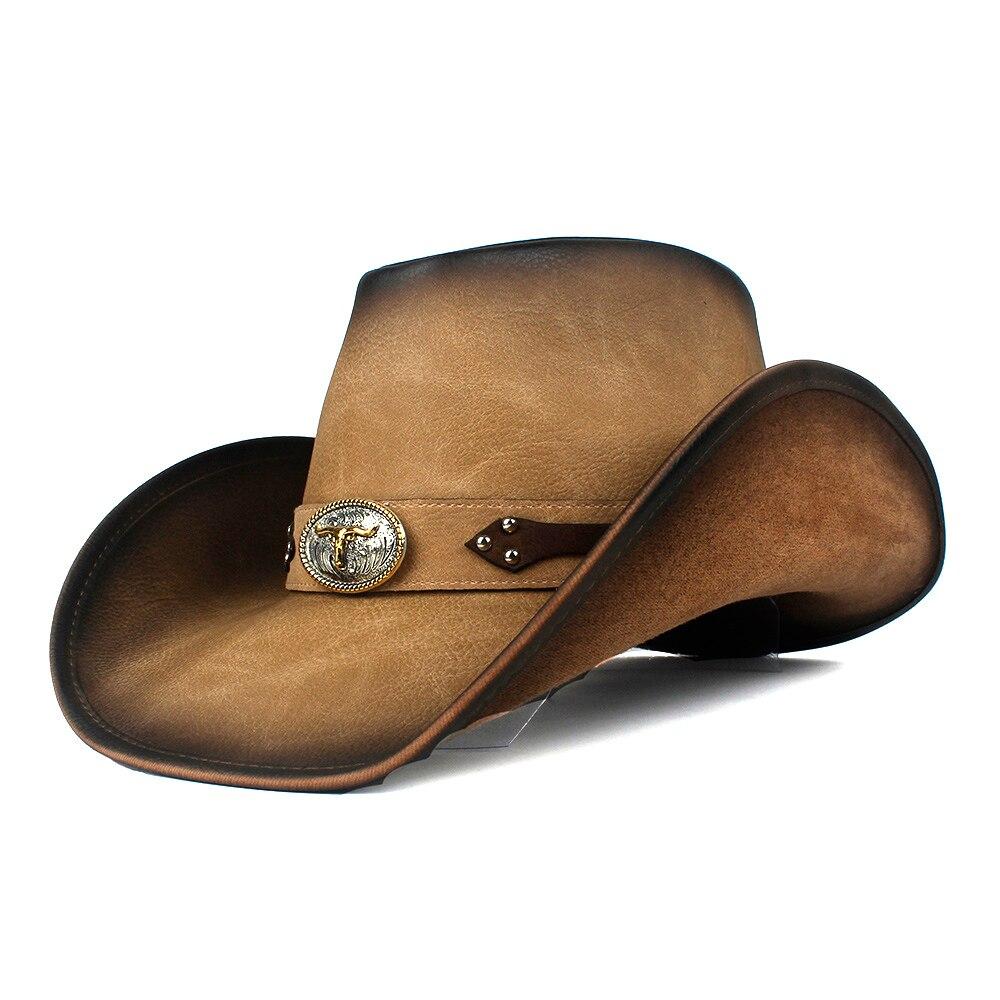 100% Leather 9 Stlye Western Cowboy Hat For Women Men Fedora Hat Gentleman Dad Cowgirl Sombrero Hombre Jazz Caps Size 58-59CM 3