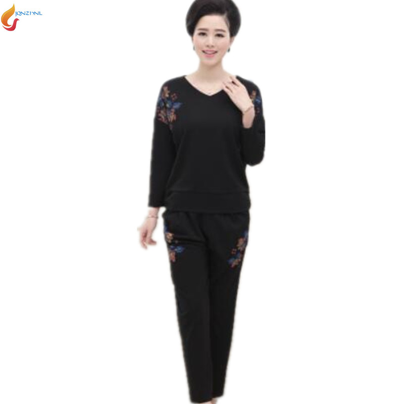 2018 New women spring Middle age large size casual sportswear suit fashion Long sleeves+trousers Twinset Costumes G184 JQNZHNL 2