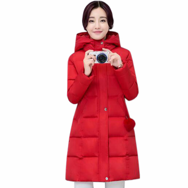 slim fashion loose large size down cotton jacket women long section Women's 2017 winter jacket hooded thicker coats parka QH0451 winter feather cotton women outwear long section thick section slim hooded coats large fur collar large size down jacket lx165
