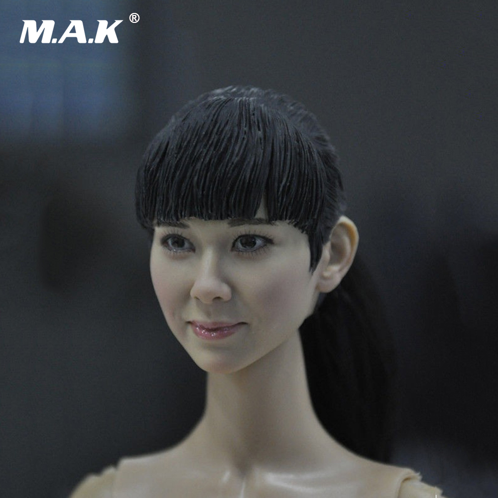 1:6 Scale Asian Female Head Figure Black Hair Doll Headplay 1:6 Action Figure Head Carved Model for 12 Inches Body Figure 1 6 scale figure accessories doll female head for 12 action figure doll head shape fit phicne