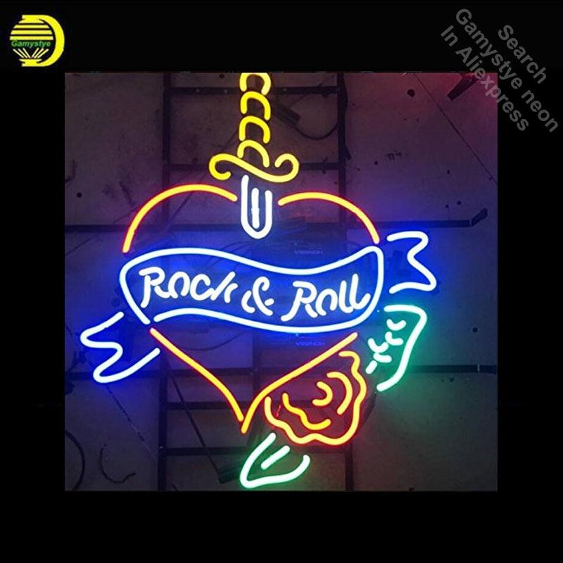 Неоновые вывески для рок-н-ролла сердце неоновый свет знак ручной работы Аркада неоновая лампа ламп коммерческих украсить комнату дропшипп...