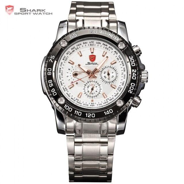 Vio shark fecha calendario reloj del deporte blanco trasera transparente banda de acero completo impermeable del ejército para hombre reloj de cuarzo relojes/sh018
