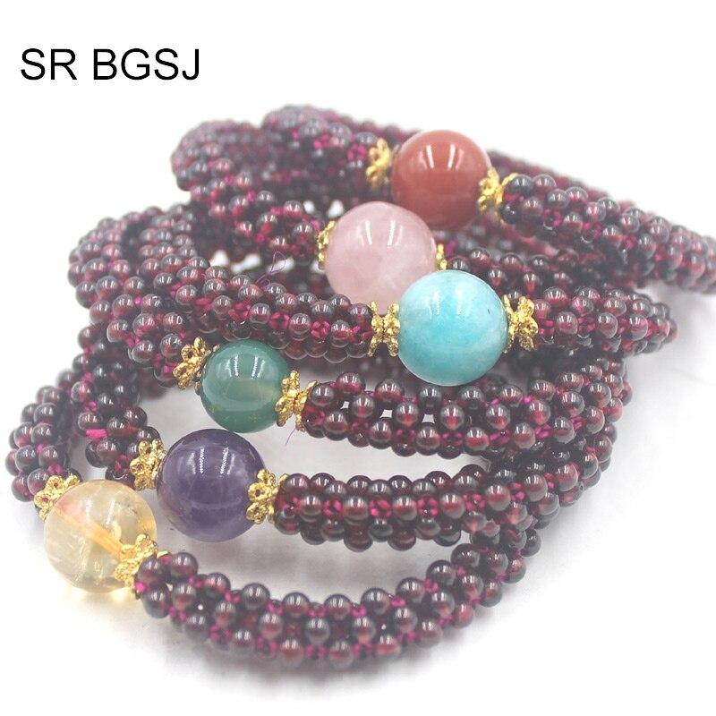 6 mm Genuine Natural Brésil ROUGE GRENAT ROND pierres précieuses perles stretch bracelet AAA
