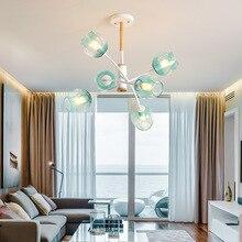 цена Modern LED chandeliers Oak glass ball hanging lights bedroom fixtures home deco illumination Nordic living room suspended lamps онлайн в 2017 году