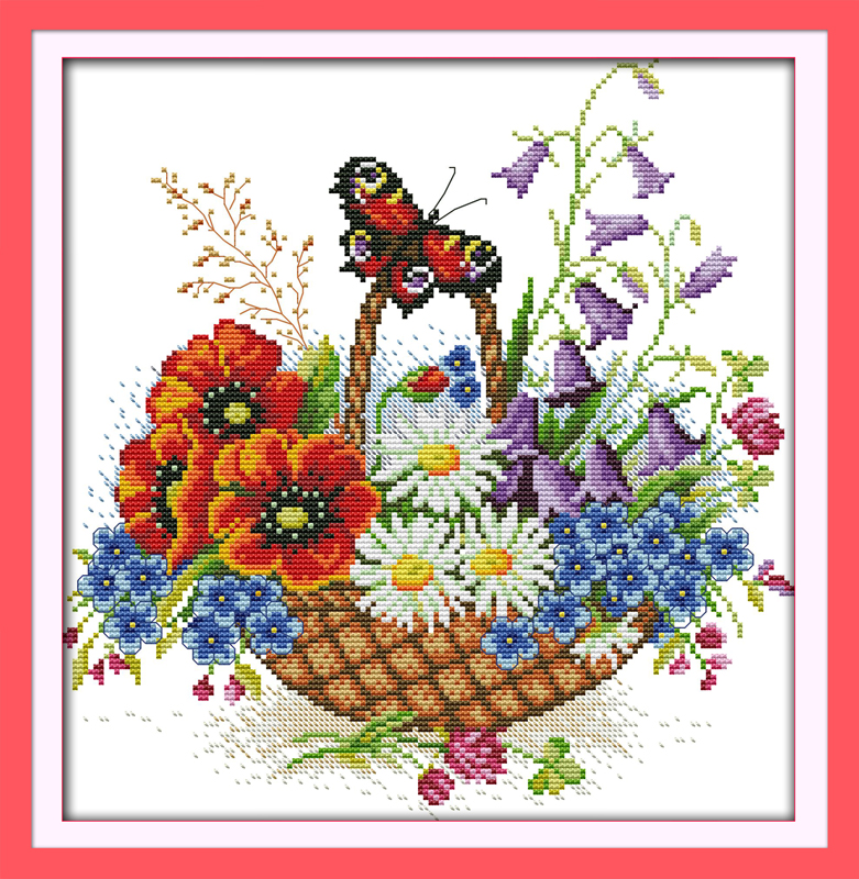 Flower basket and beautiful butterfly DMC Counted Chinese Cross Stitch Kits printed Cross-stitch set Embroidery Needlework