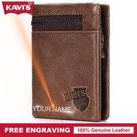 KAVIS Genuine Leather Wallet Men Coin Purse Gift Male Cuzdan Walet Portomonee PORTFOLIO Card Holder Magic