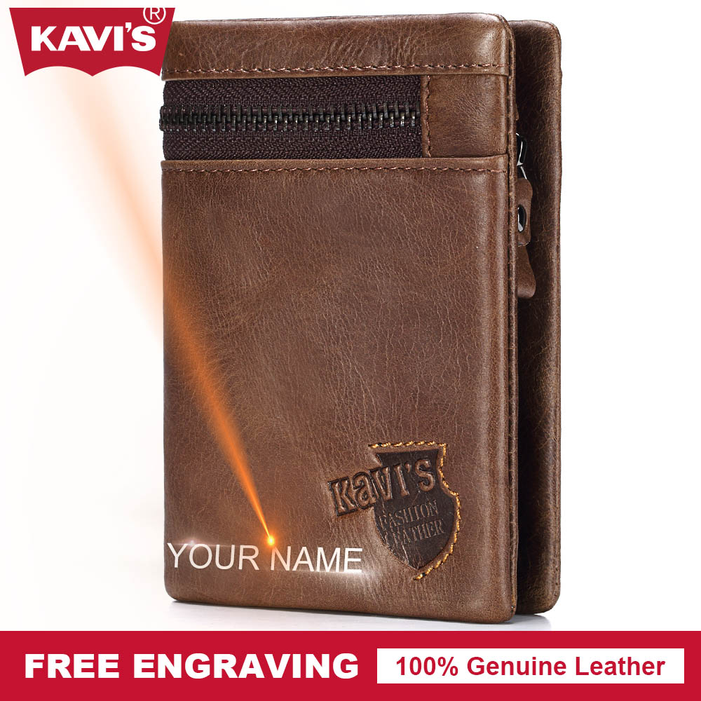 KAVIS Genuine Leather Wallet Men Coin Purse Gift Male Cuzdan Walet Portomonee PORTFOLIO Card Holder Magic Zipper Fashion Perse genuine leather mens wallet black hasp men purse with zipper coin pocket portfolio male short card holder vertical men wallets