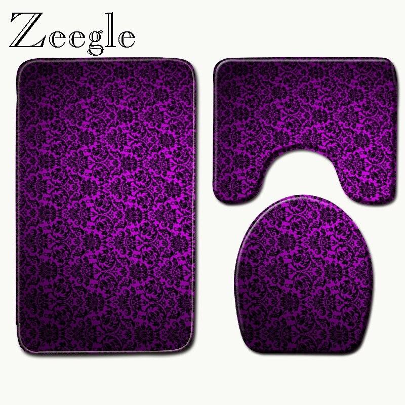 Bath Mats Purple Rugs Toilet Seat Cover