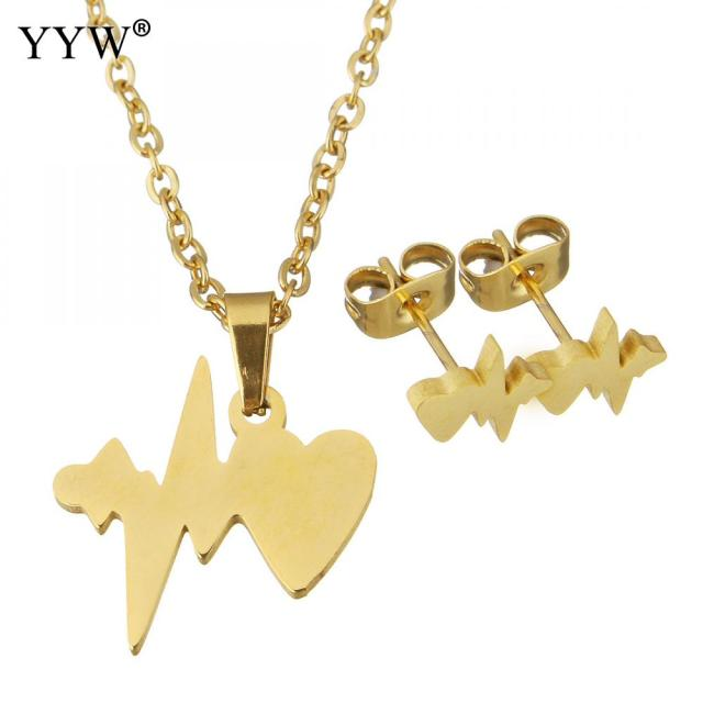 stainless elegant jewelry earring hollow gold necklace exquisite sets steel heart item color