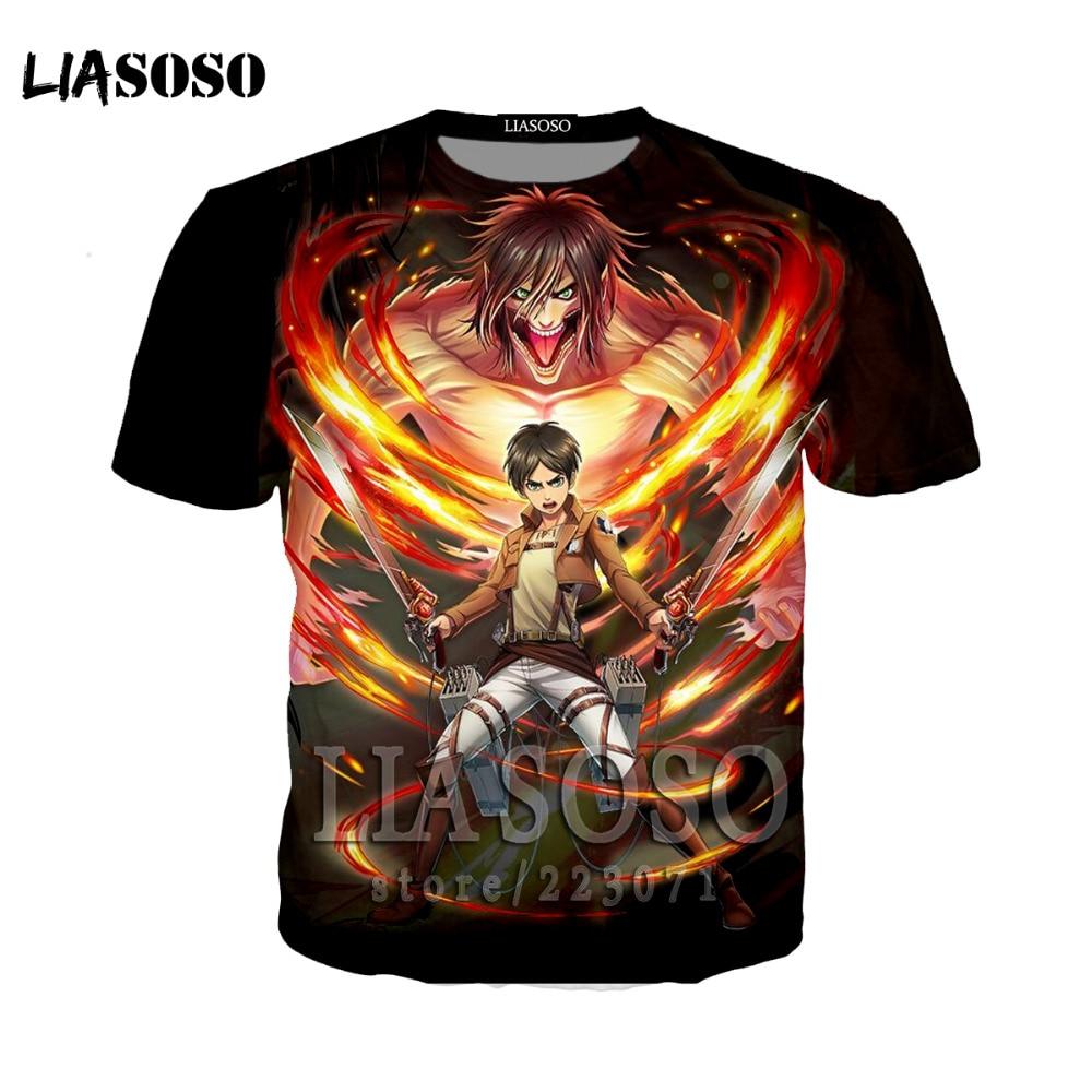 LIASOSO Japanese Anime Attack on Titan t shirt in men's T-shirt Short Sleeve Hip Hop Strretwear 3D O-neck summer tshirt at16