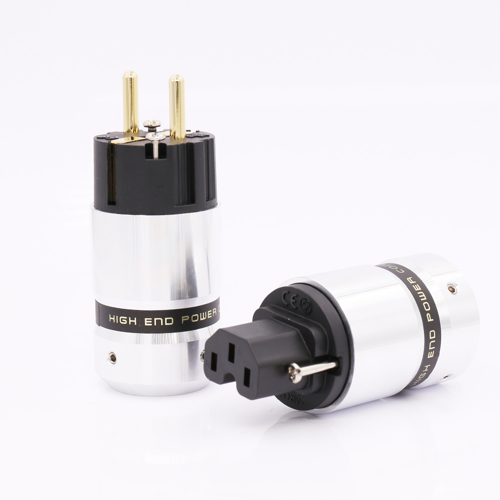 Hi-End Gold Plated Schuko Power plug IEC Connector for DIY Mains power cable hi end viborg gold plated us power plug hifi usa power cord cable plug iec plug
