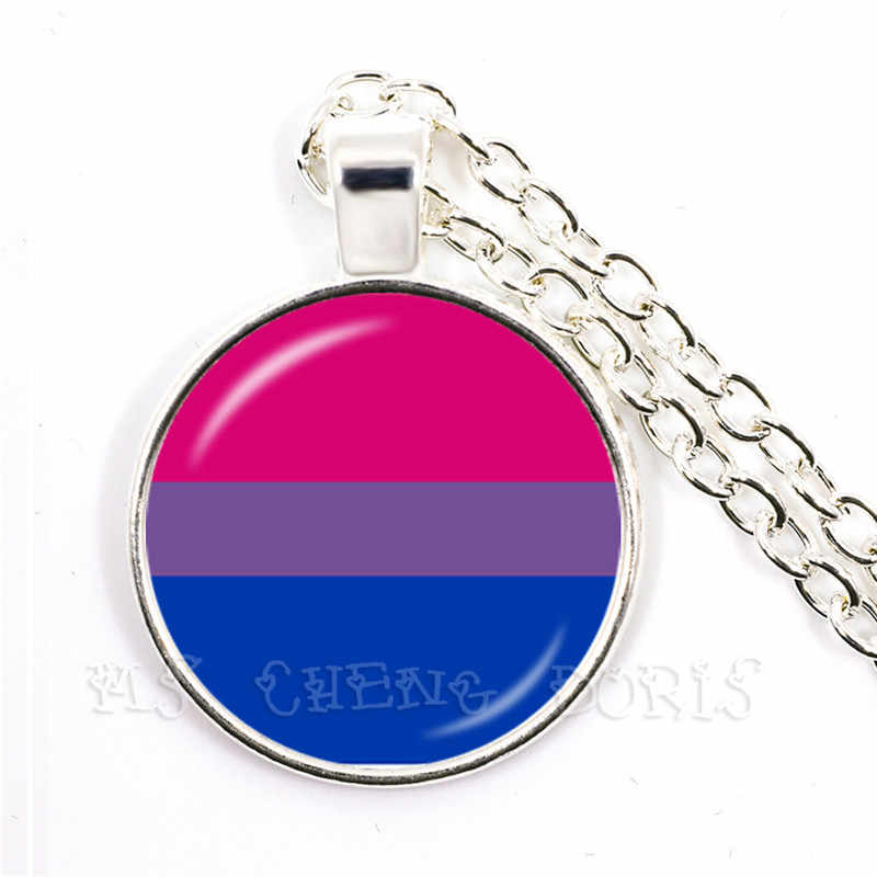 LGBT ожерелье Би Прайд 25 мм стеклянный купол кулон ожерелье Гей Радуга гордости Флаг Фото стеклянный ювелирные изделия из кабошонов для женщин мужчин влюбленных