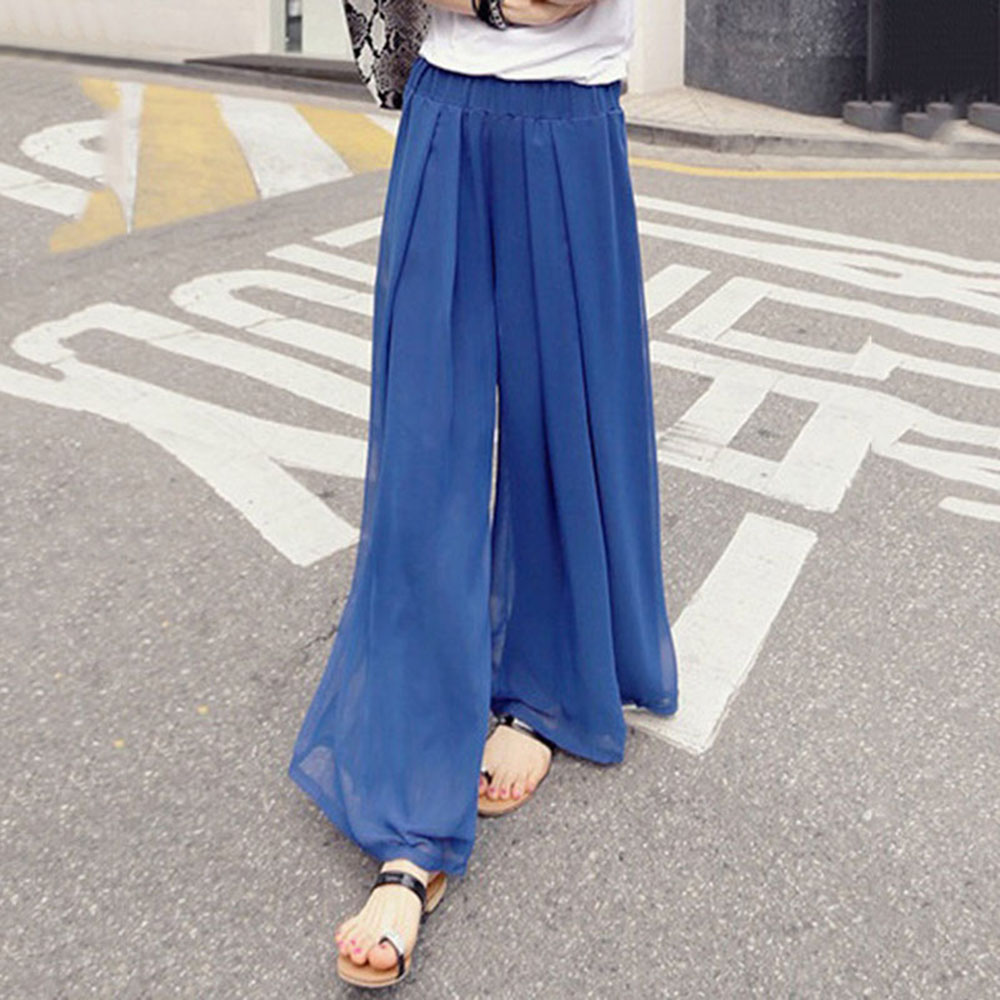 Woman Wide Leg Pants Chiffon Fashion Pants Loose Plus size 6XL Casual Trousers For Women Wide Legs Pants 2018 CalCa Feminina