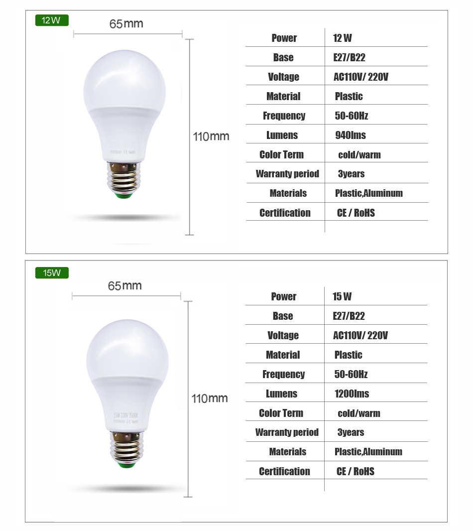 Lampada מנורת LED E27 7 W 9 W 12 W 15 W 220 V נורת LED 110 V LED אור הנורה חיסכון באנרגיה SMD2835 360 תואר חם/לבן בית תאורה