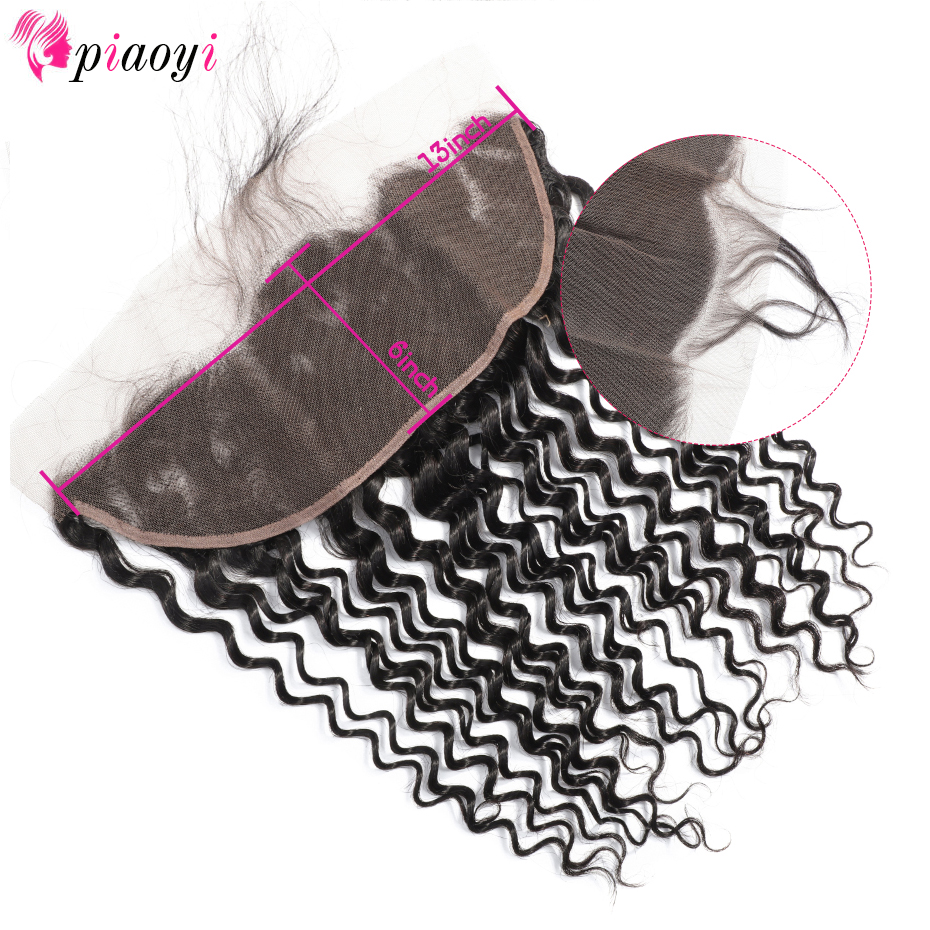 Piaoyi Malaysian 13x6 Lace Frontal Closure With Deep Wave Remy Hair Frontal Swiss Lace Bleached Knots Natural Color