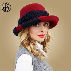 FS винтажная шерстяная шляпа для женщин с широкими полями, фетровая шляпа для леди, котелок, Клош, шляпы с бантом, черные, красные фетровые шля...