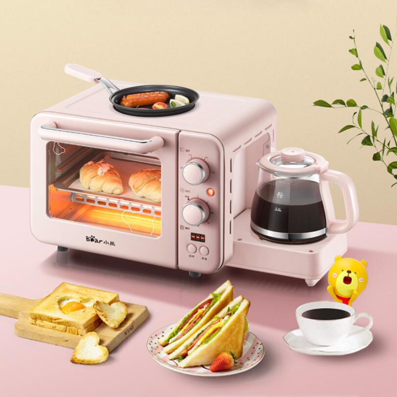 Multifunction Breakfast Machine Mini Household Electric Oven Cake Baking Fry Pan Warm Drinking Pot Toaster
