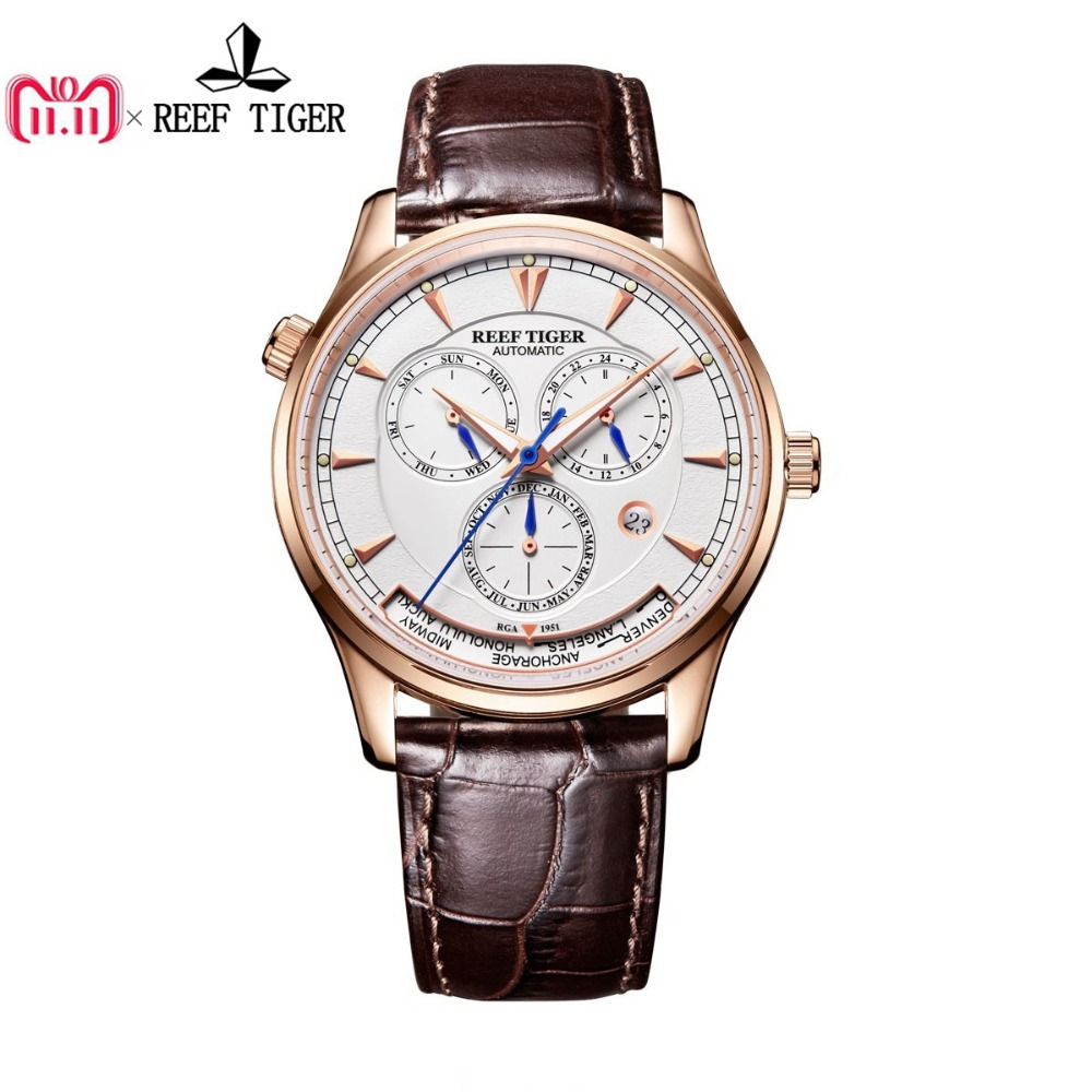 Reef Tiger/RT Mens Automatic World Time Watches with Date Day Month Rose Gold Leather Strap Watch RGA1951 вьетнамки reef day prints palm real teal