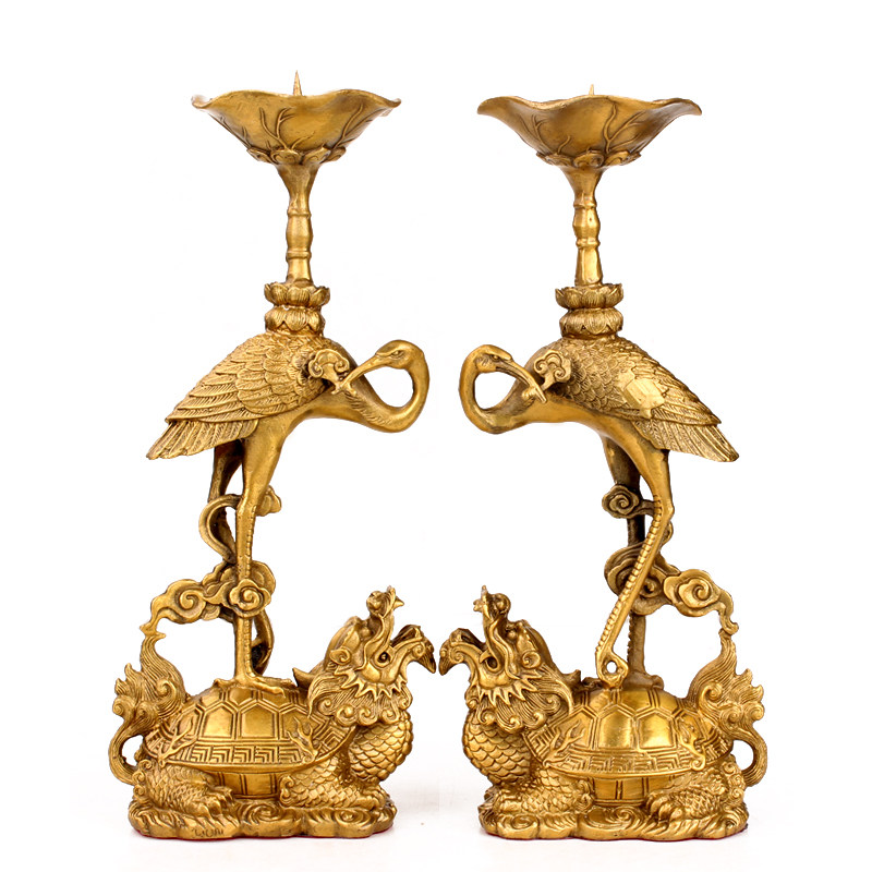 2 PCS Brass Turtle Candlestick Decoration Crane Retro Buddhism Buddha Offering Candle Holder