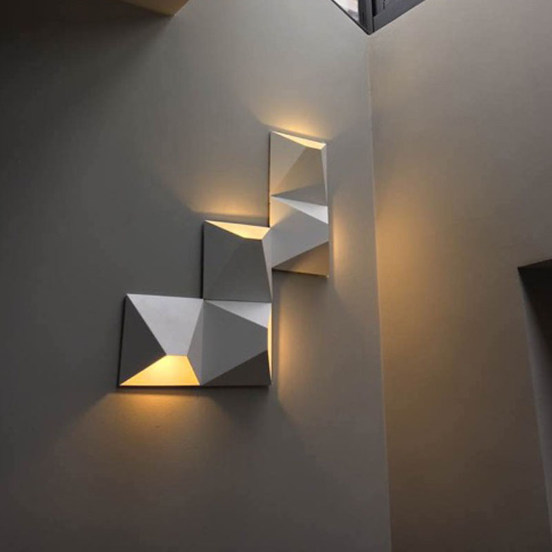 Modern LED Wall Lamp Geometric Iron Black White Wall Sconces DIY Magic Box Wall Lights For Living Room Bedroom Light Fixtures|LED Indoor Wall Lamps| |  - title=