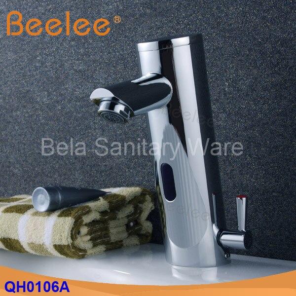 Beelee Contemporanea Ottone Mano libera Hot & Cold Miscelatore Automatico del Sensore Rubinetto di Lavaggio Bagno e Lavabo Rubinetto Cromato (QH0106A)