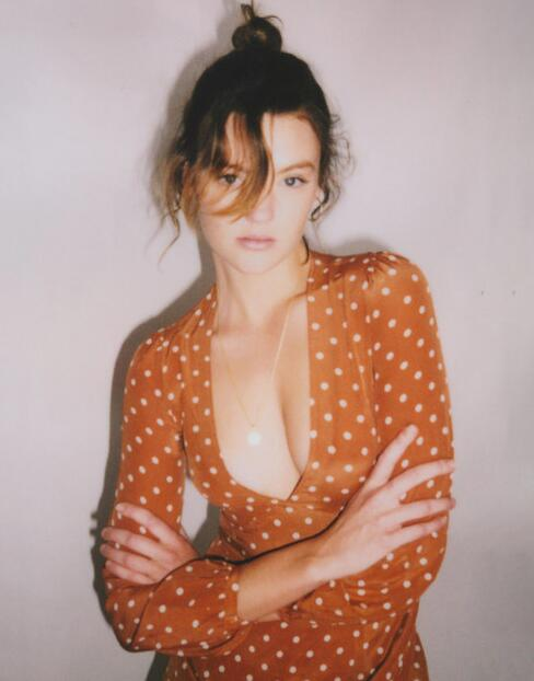Die Frauen Spot Fr Dot ausschnitt Tiefem 100seide Kate Polka Print V rust Langarm bf6gv7yY