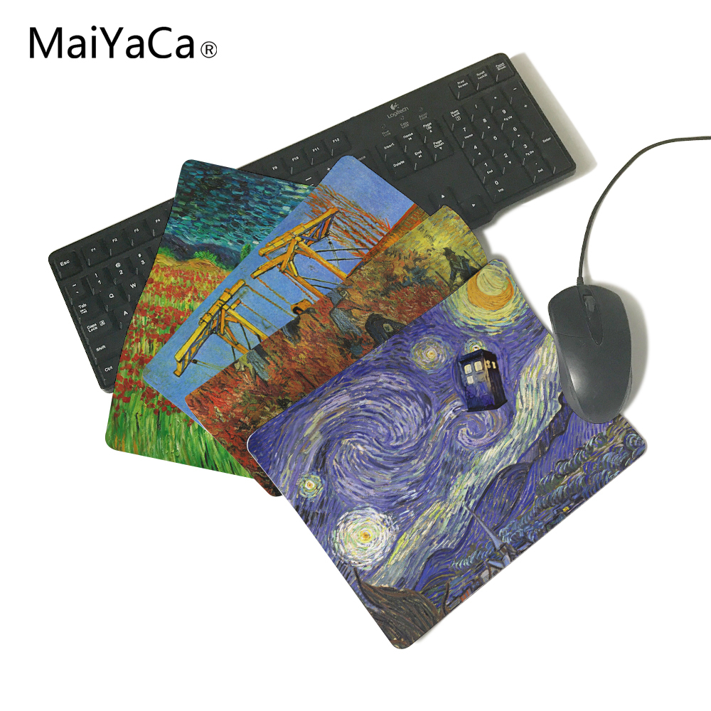 MaiYaCa Van Gogh Star Doctor Who Computer Mouse Pad Mousepads Decorate Your Desk Non-Skid Rubber Speed Version Mouse Pad maiyaca rainbow pastel watercolor moroccan pattern prints mouse pad small size round gaming non skid rubber pad
