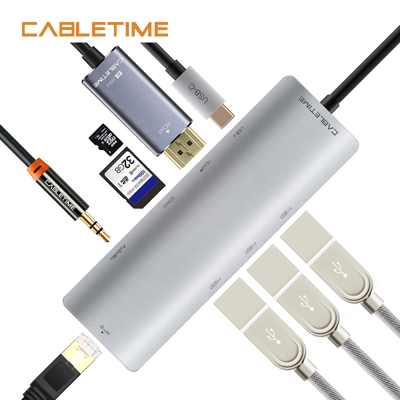 Cabletime USB HUB USB C to HDMI RJ45 Adapter 9 in 1 Type C USB 3.0 HUB SDTF Card Reader Ethernet for Samsung Galaxy S9/Note N132 cabletime usb type c cable usb 3 0 type c usb c 2 4a fast charging data cable for samsung galaxy s9 note 8 9 huawei n039