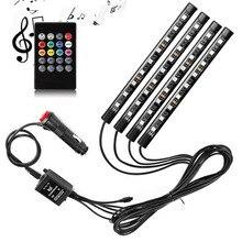 Striscia LED per auto 4 pezzi 9/12/18 5050 RGB LED Multicolor Music Car Interior atmosfera luci, striscia LED USB per auto TV Home