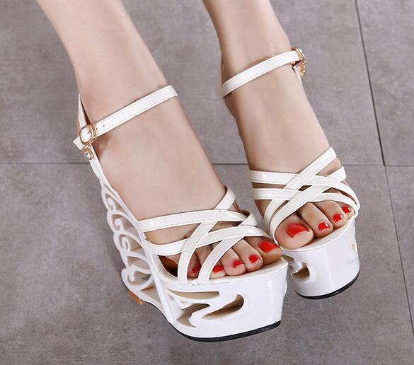 Rhinestones Heterotypic Heel Buckle Strap Sexy Strange Style Heel Summer Women Shoes Retro Novelty Sandals High Heels Shoes
