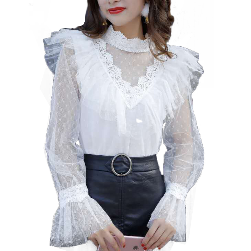 Womens Fashion Leopard Mesh Gauze Stitching Chiffon Shirt Flare Sleeve Ruffled T-shirt Ladies High Neck Casual Pullovers Top Tops & Tees