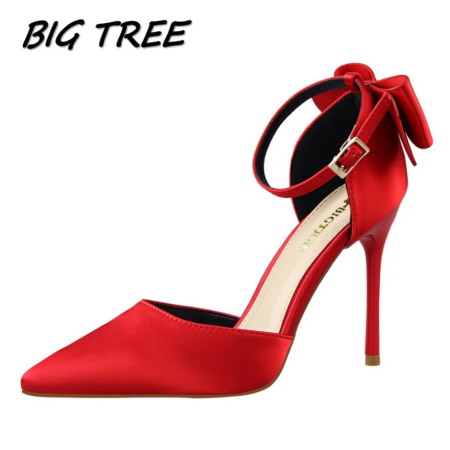 BIGTREE summer women High heel sandals shoes woman fashion bow-tie pointed toe pumps ladies ankle Strap Thin Heels stilettos bigtree summer women pointed toe high heels shoes woman shallow crystal pumps ladies fashion party wedding silk single shoes
