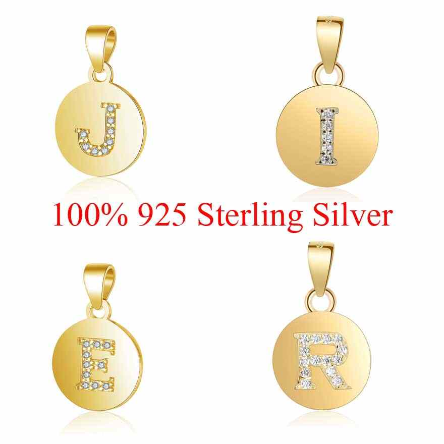 Golden Color 925 Sterling Silver A-Z Alpahbet Name Pendant for Necklace 26 Letters Charm Initial Name Charms Wholesale