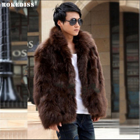ROKEDISS 2017 New Male Men Thickening Faux Fox Fur Coats With A Hood Short Design Fake