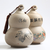 Vintage Yixing Ceramic Lotus Tea Cans 2 Layer Gourd Shape Caddy Sealed Storage Jar for Candy Nut Coffee Bean Powder Pepper Box