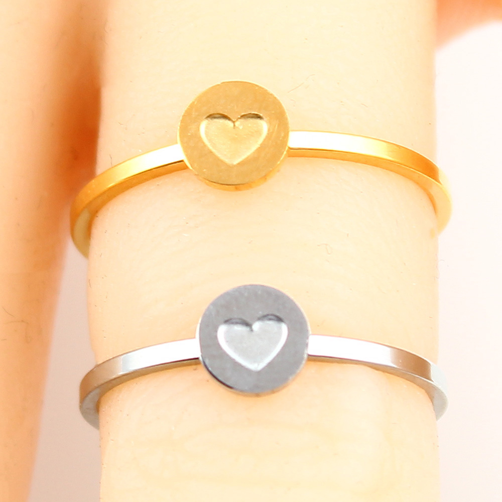 Кольцо в форме сердца с буквами, ювелирные изделия из нержавеющей стали, кольцо для аксессуаров, Серебряное Золотое кольцо на палец, набор ювелирных украшений для женщин - Цвет основного камня: heart-2